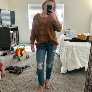 Orangey yellow knit sweater